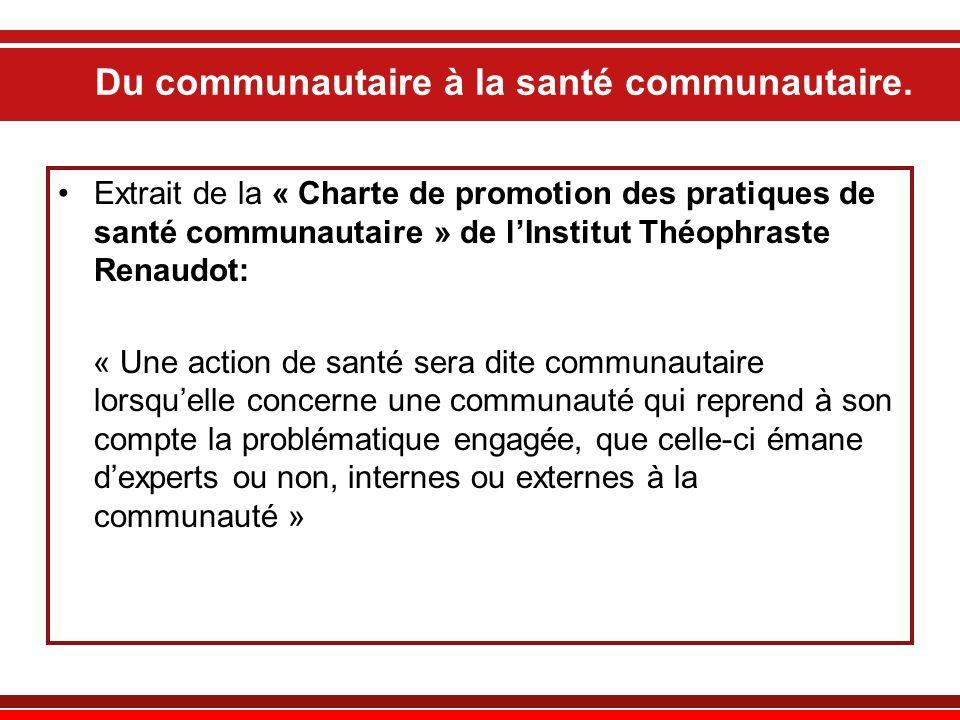 Du communautaire à la santé communautaire. Extrait de la « Charte de promotion des pratiques de santé communautaire » de lInstitut Théophraste Renaudo