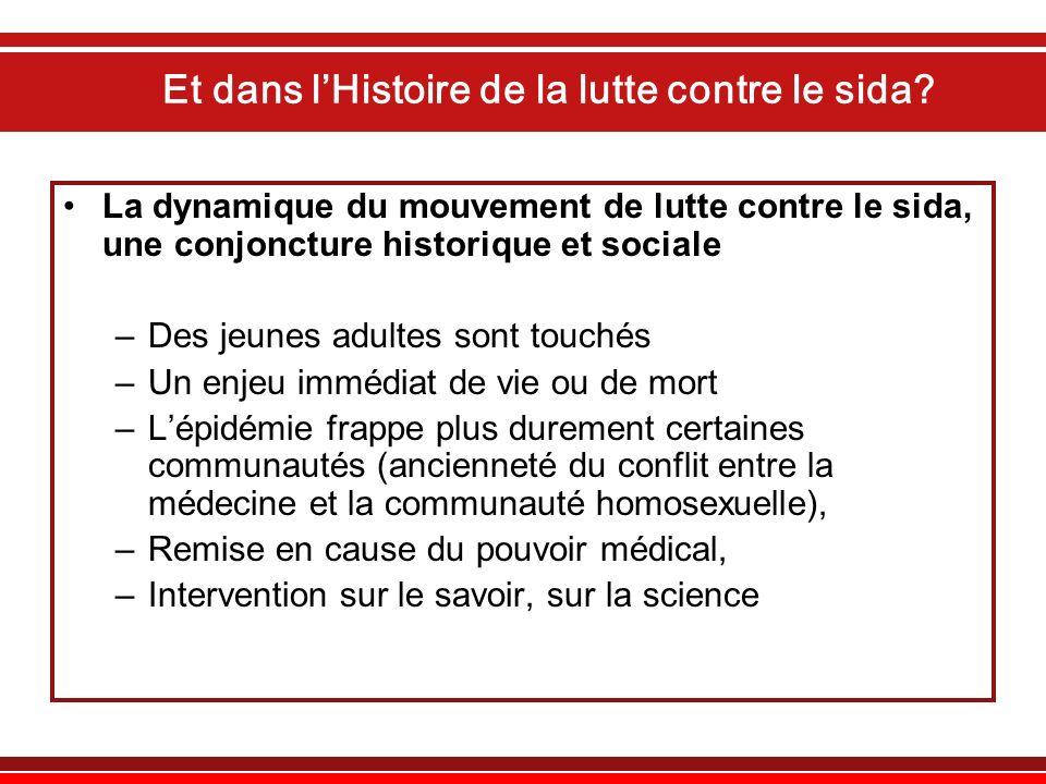 Et dans lHistoire de la lutte contre le sida? La dynamique du mouvement de lutte contre le sida, une conjoncture historique et sociale –Des jeunes adu