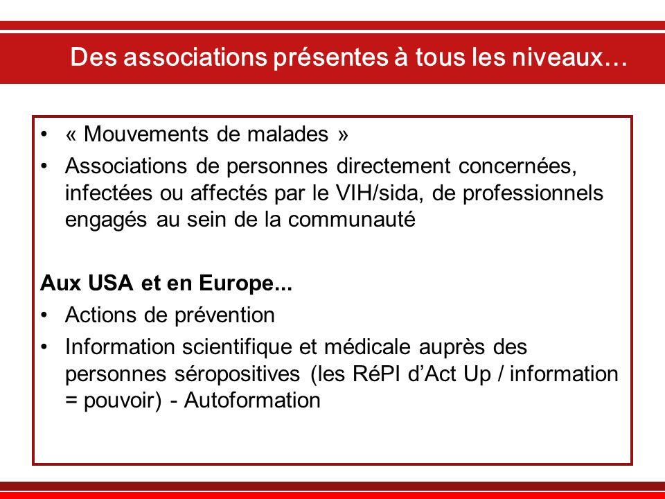 Des associations présentes à tous les niveaux… « Mouvements de malades » Associations de personnes directement concernées, infectées ou affectés par l