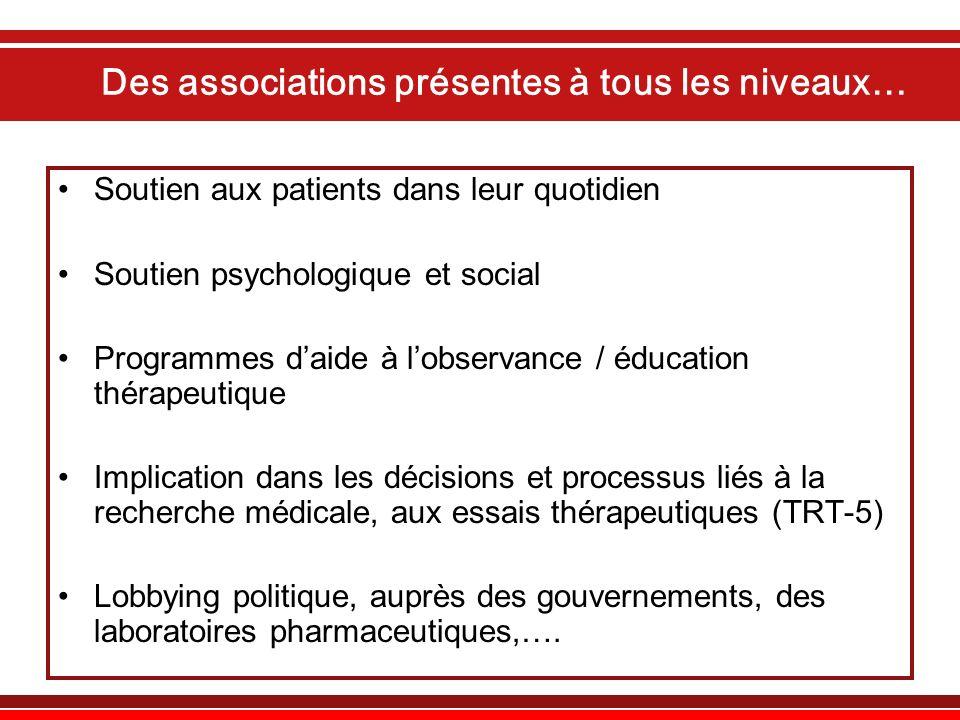 Des associations présentes à tous les niveaux… Soutien aux patients dans leur quotidien Soutien psychologique et social Programmes daide à lobservance