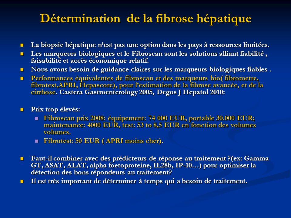 Détermination de la fibrose hépatique La biopsie hépatique nest pas une option dans les pays à ressources limitées. La biopsie hépatique nest pas une