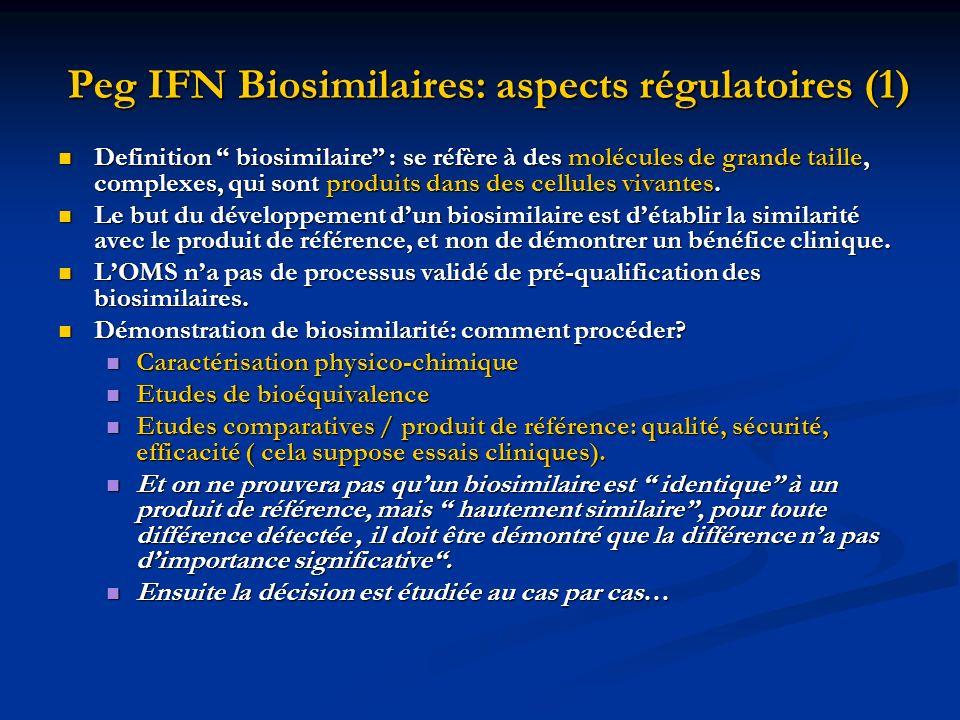 Peg IFN Biosimilaires: aspects régulatoires (1) Definition biosimilaire : se réfère à des molécules de grande taille, complexes, qui sont produits dan