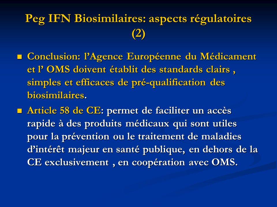 Peg IFN Biosimilaires: aspects régulatoires (2) Conclusion: lAgence Européenne du Médicament et l OMS doivent établit des standards clairs, simples et