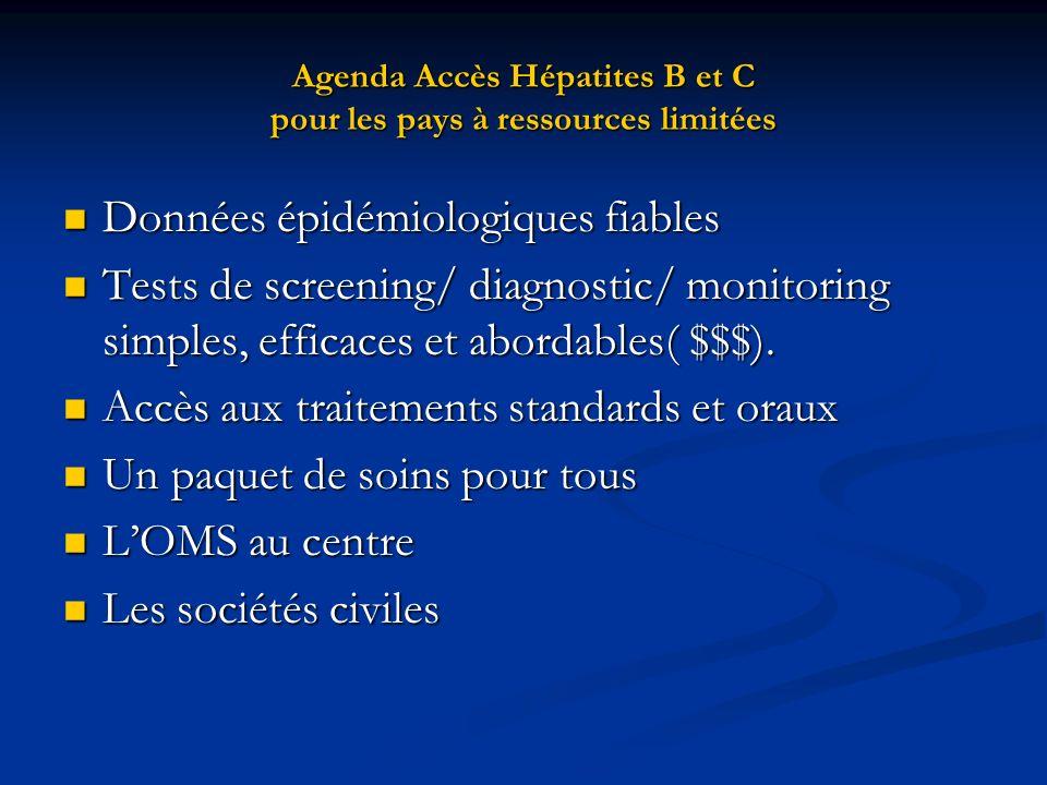 Agenda Accès Hépatites B et C pour les pays à ressources limitées Données épidémiologiques fiables Données épidémiologiques fiables Tests de screening