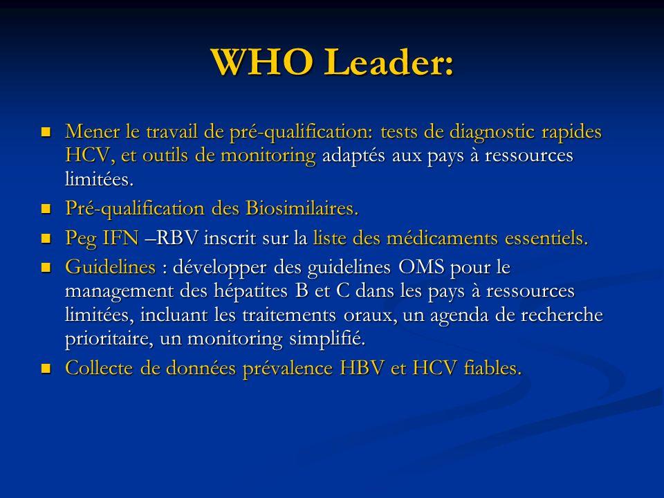 WHO Leader: Mener le travail de pré-qualification: tests de diagnostic rapides HCV, et outils de monitoring adaptés aux pays à ressources limitées. Me