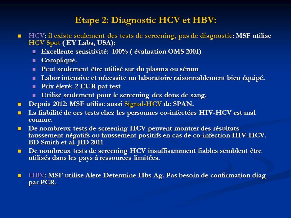Etape 2: Diagnostic HCV et HBV: HCV: il existe seulement des tests de screening, pas de diagnostic: MSF utilise HCV Spot ( EY Labs, USA): HCV: il exis