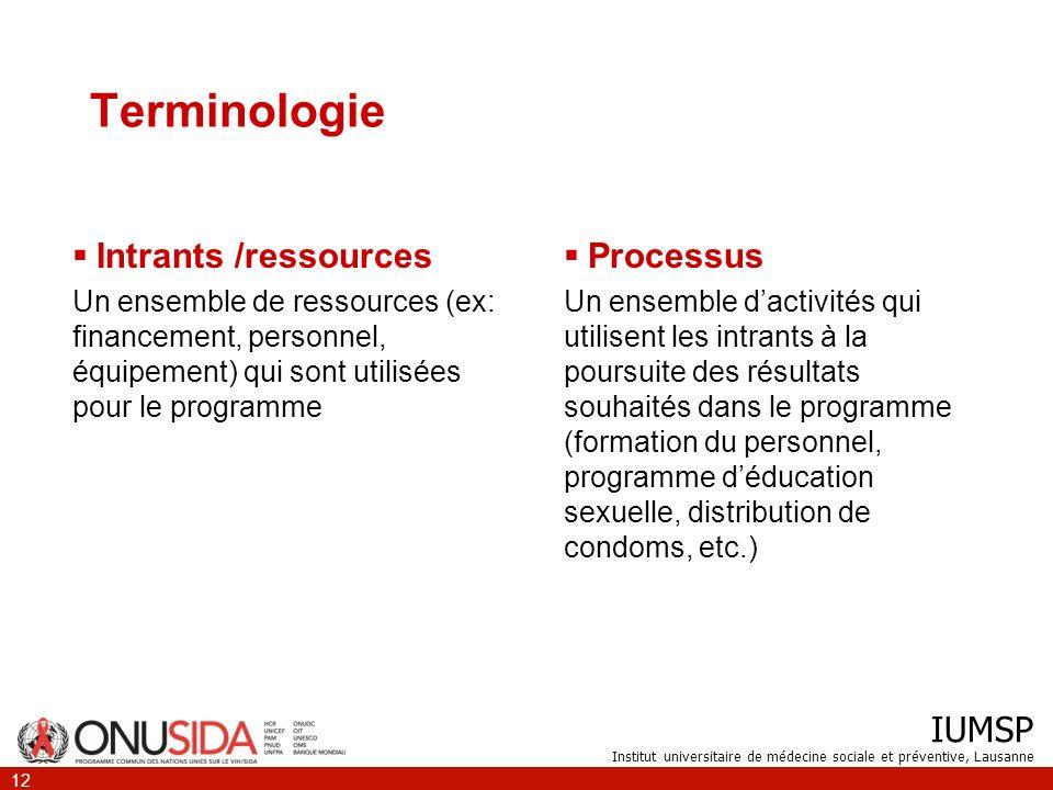 IUMSP Institut universitaire de médecine sociale et préventive, Lausanne 12 Terminologie Intrants /ressources Un ensemble de ressources (ex: financeme