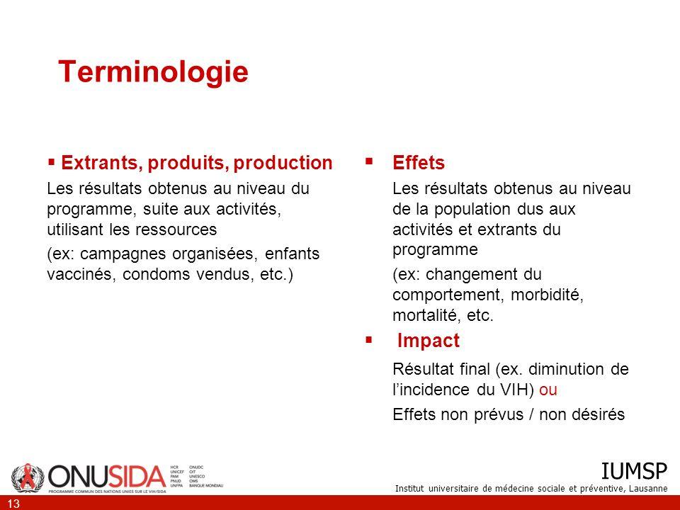 IUMSP Institut universitaire de médecine sociale et préventive, Lausanne 13 Terminologie Extrants, produits, production Les résultats obtenus au nivea