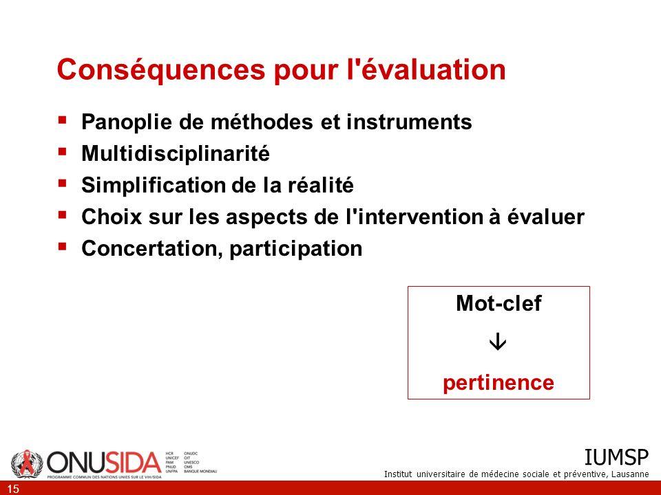 IUMSP Institut universitaire de médecine sociale et préventive, Lausanne 15 Conséquences pour l'évaluation Panoplie de méthodes et instruments Multidi