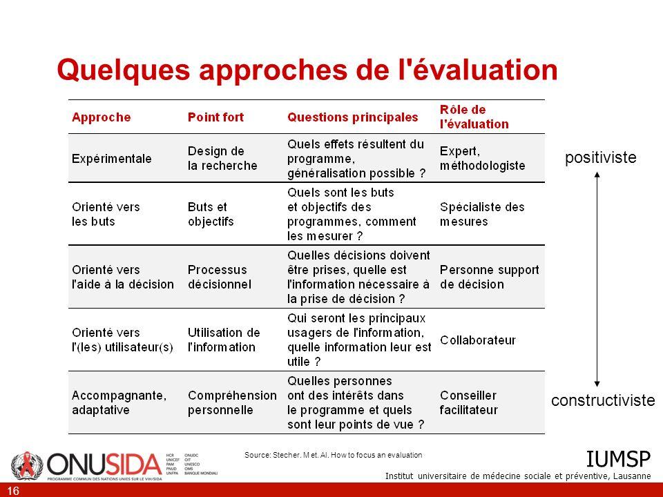 IUMSP Institut universitaire de médecine sociale et préventive, Lausanne 16 Quelques approches de l'évaluation positiviste constructiviste Source: Ste