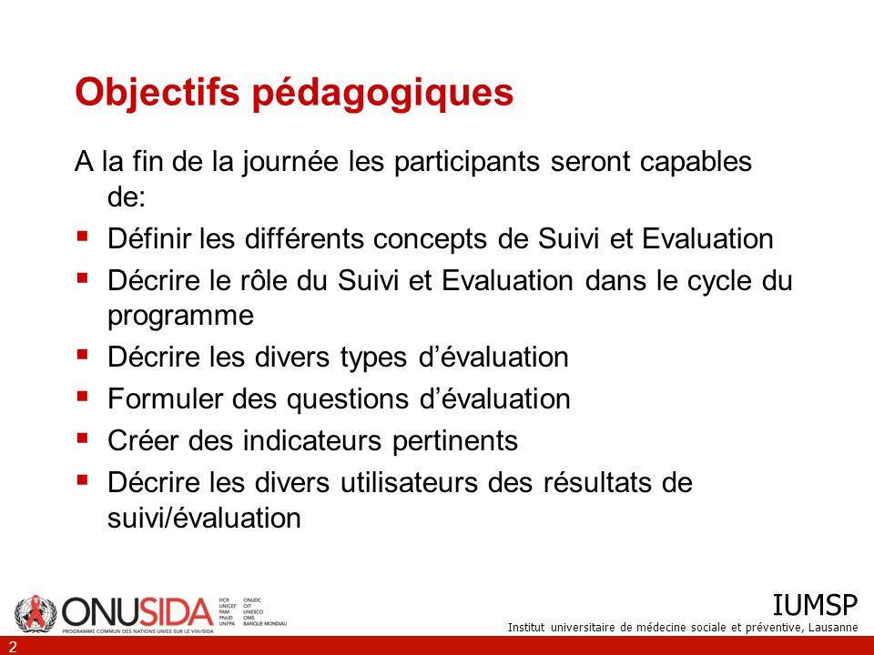 IUMSP Institut universitaire de médecine sociale et préventive, Lausanne 2 Objectifs pédagogiques A la fin de la journée les participants seront capab