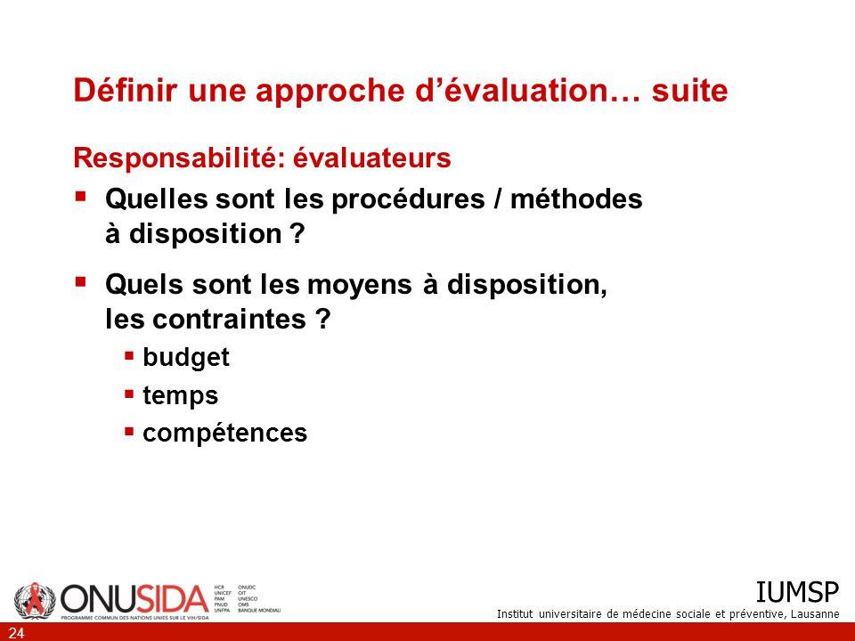 IUMSP Institut universitaire de médecine sociale et préventive, Lausanne 24 Définir une approche dévaluation… suite Responsabilité: évaluateurs Quelle