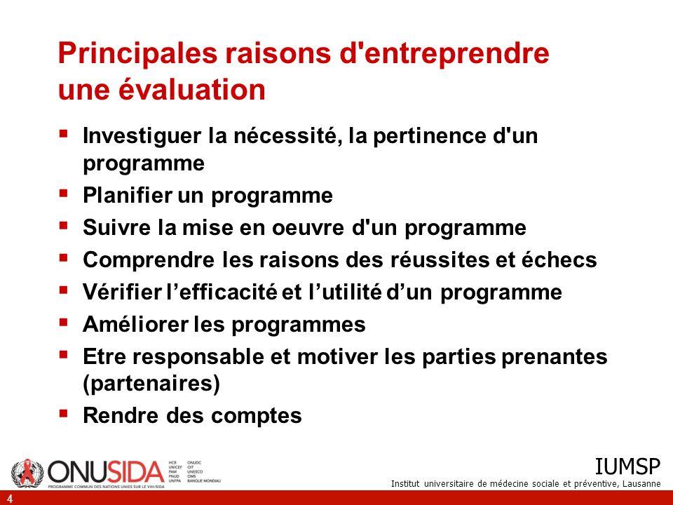 IUMSP Institut universitaire de médecine sociale et préventive, Lausanne 4 Principales raisons d'entreprendre une évaluation Investiguer la nécessité,