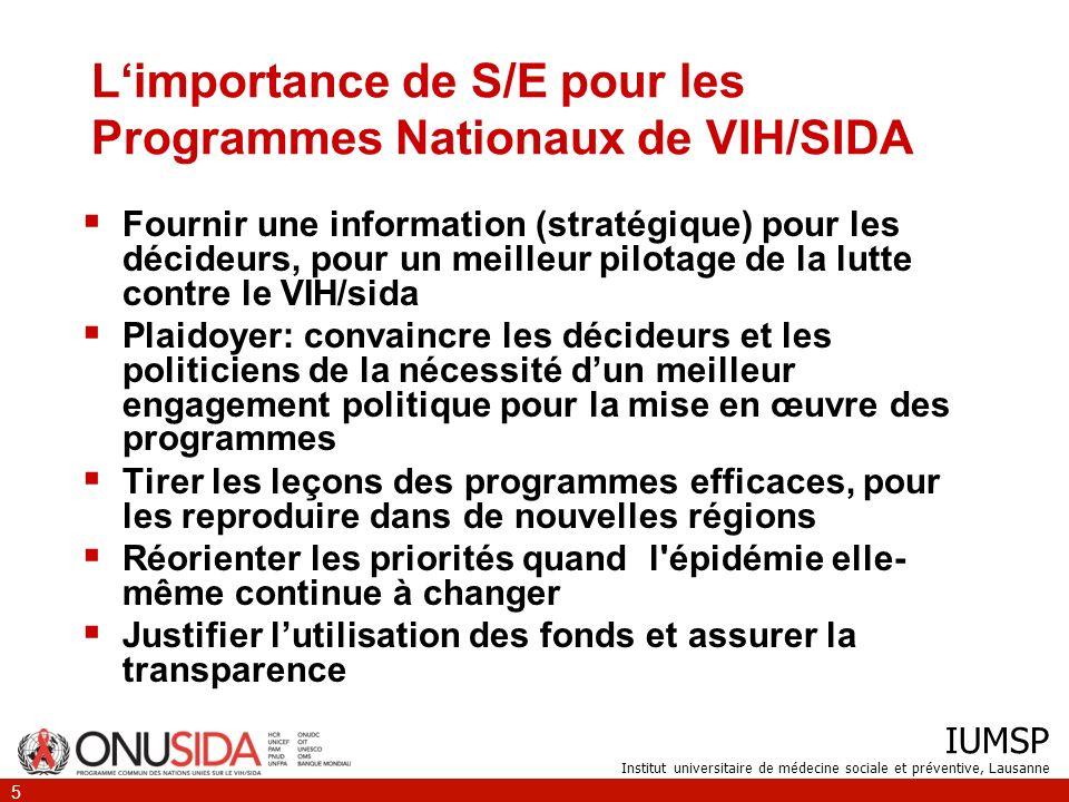 IUMSP Institut universitaire de médecine sociale et préventive, Lausanne 5 Limportance de S/E pour les Programmes Nationaux de VIH/SIDA Fournir une in