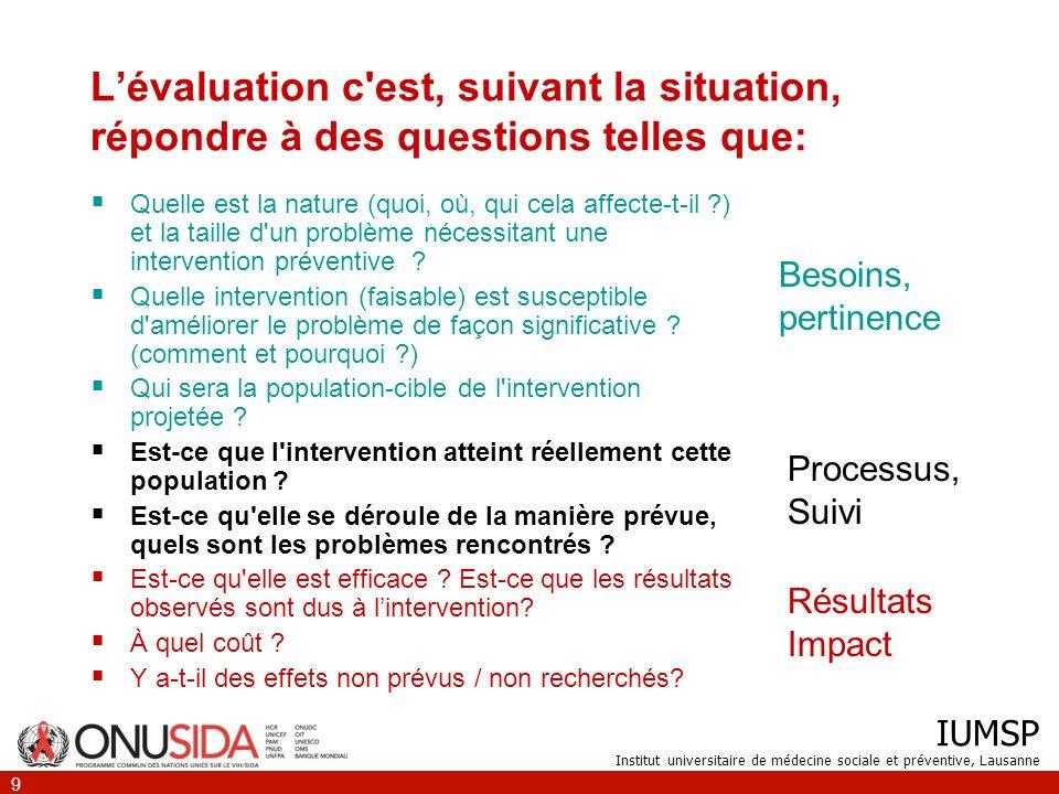IUMSP Institut universitaire de médecine sociale et préventive, Lausanne 9 Lévaluation c'est, suivant la situation, répondre à des questions telles qu