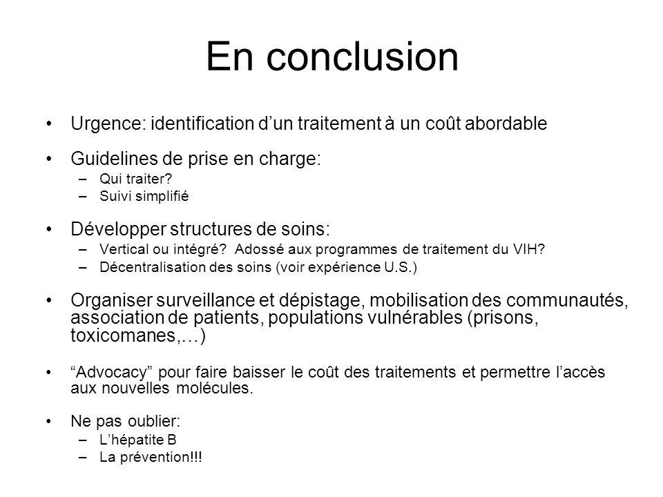 En conclusion Urgence: identification dun traitement à un coût abordable Guidelines de prise en charge: –Qui traiter? –Suivi simplifié Développer stru