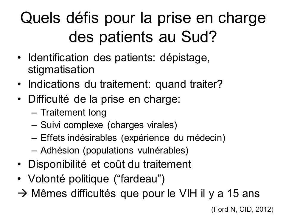 Quels défis pour la prise en charge des patients au Sud? Identification des patients: dépistage, stigmatisation Indications du traitement: quand trait