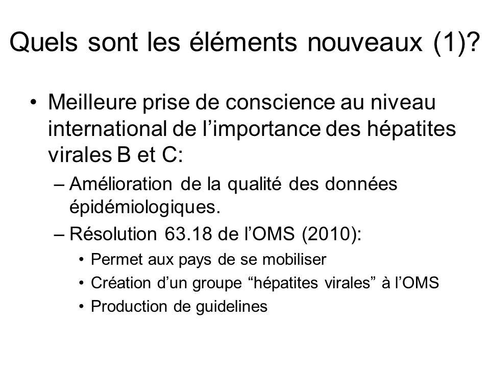 Quels sont les éléments nouveaux (1)? Meilleure prise de conscience au niveau international de limportance des hépatites virales B et C: –Amélioration