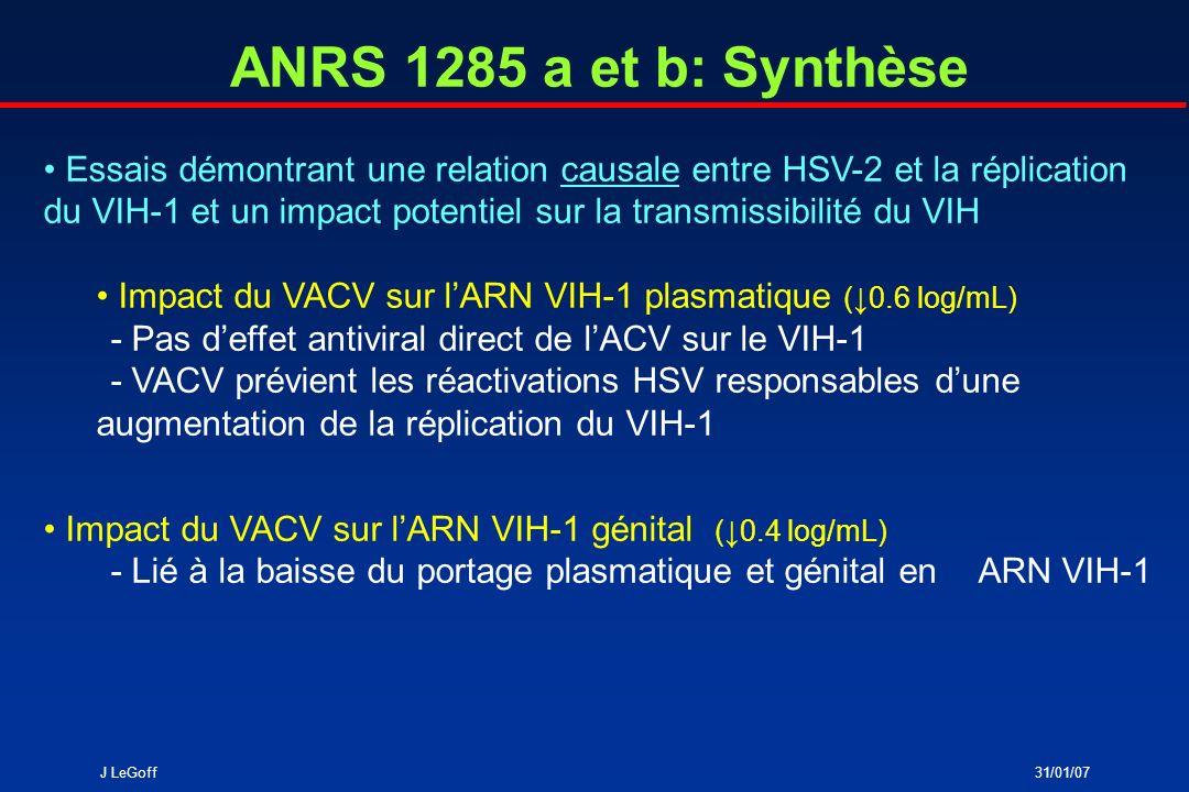 J LeGoff31/01/07 ANRS 1285 a et b: Synthèse Essais démontrant une relation causale entre HSV-2 et la réplication du VIH-1 et un impact potentiel sur l