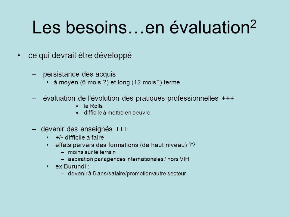 Les besoins…en évaluation 2 ce qui devrait être développé – persistance des acquis à moyen (6 mois ?) et long (12 mois?) terme – évaluation de lévolut