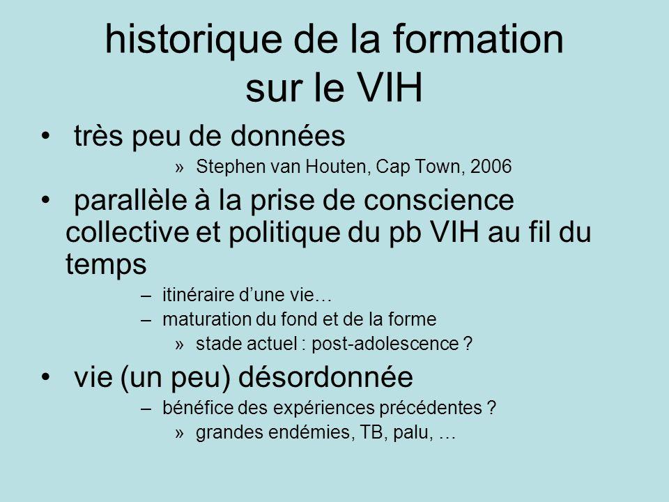 historique de la formation sur le VIH très peu de données » Stephen van Houten, Cap Town, 2006 parallèle à la prise de conscience collective et politi