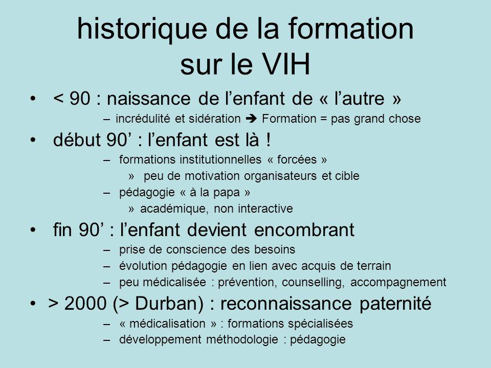 historique de la formation sur le VIH < 90 : naissance de lenfant de « lautre » –incrédulité et sidération Formation = pas grand chose début 90 : lenf