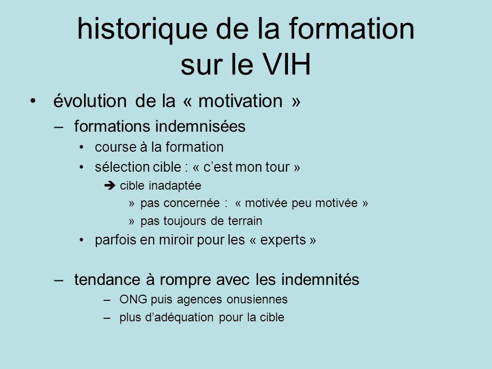 historique de la formation sur le VIH évolution de la « motivation » – formations indemnisées course à la formation sélection cible : « cest mon tour