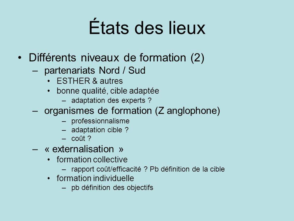 États des lieux Différents niveaux de formation (2) – partenariats Nord / Sud ESTHER & autres bonne qualité, cible adaptée – adaptation des experts ?