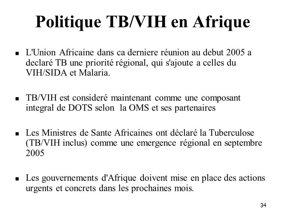 34 Politique TB/VIH en Afrique L Union Africaine dans ca derniere réunion au debut 2005 a declaré TB une priorité régional, qui s ajoute a celles du VIH/SIDA et Malaria.