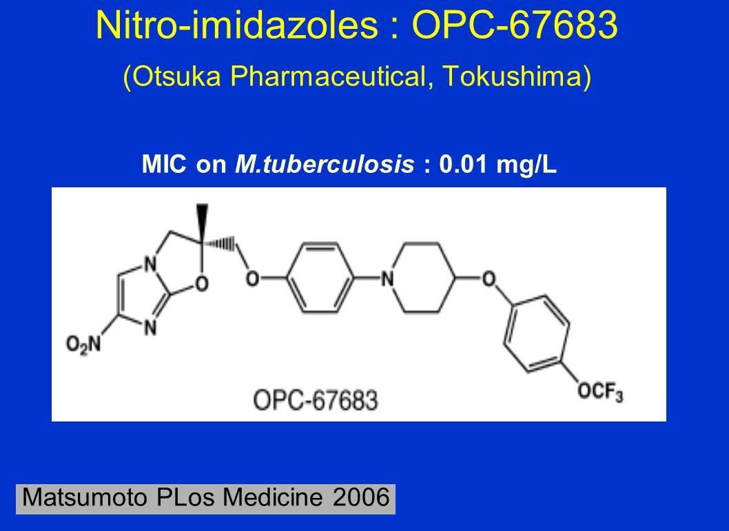 Nitro-imidazoles : OPC-67683 (Otsuka Pharmaceutical, Tokushima) Matsumoto PLos Medicine 2006 MIC on M.tuberculosis : 0.01 mg/L