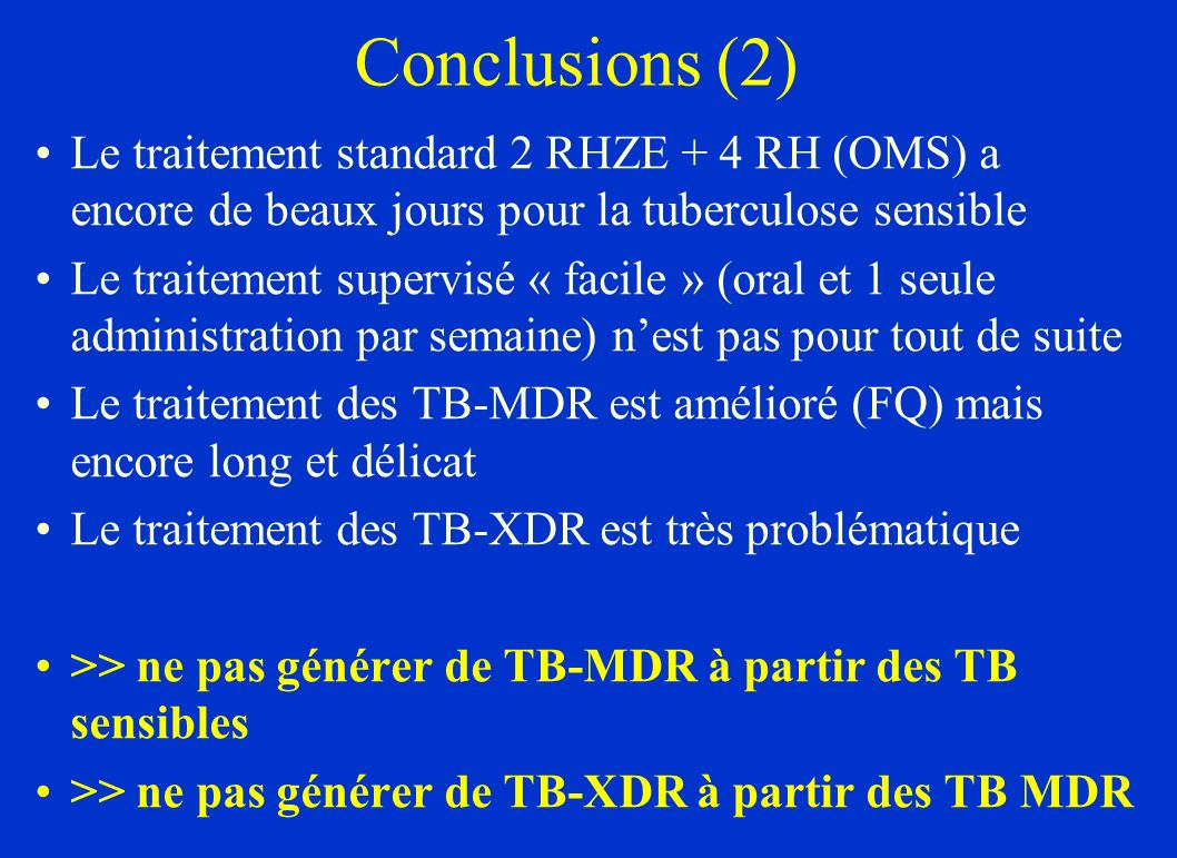 MDR definition (WHO) 2 major antituberculous drugs : Rifampicine (R) Isoniazid (H) >> MDR : resistant to R and H Main antituberculous drugs for MDR : Aminoglycosides Fluoroquinolones (Ethionamide) (Pyrazinamide)