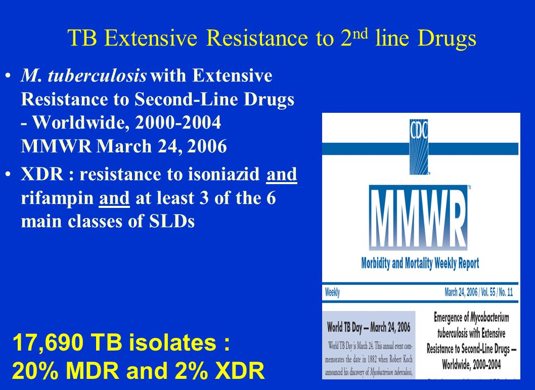 TB Extensive Resistance to 2 nd line Drugs M. tuberculosis with Extensive Resistance to Second-Line Drugs - Worldwide, 2000-2004 MMWR March 24, 2006 X