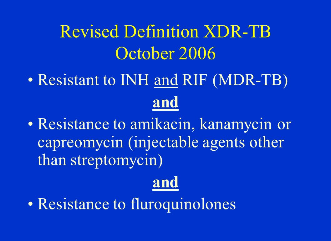 XDR-TB (in % of MDR cases) WHO 4 th Report