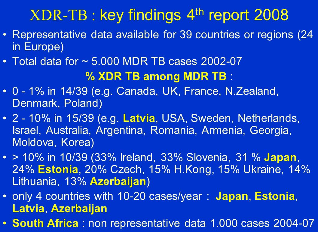 XDR-TB : key findings 4 th report 2008 Representative data available for 39 countries or regions (24 in Europe) Total data for ~ 5.000 MDR TB cases 20