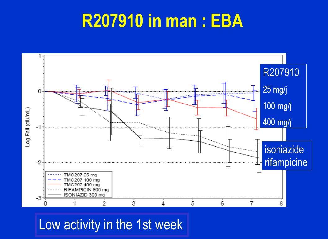 R207910 in man : EBA isoniazide rifampicine R207910 25 mg/j 100 mg/j 400 mg/j Low activity in the 1st week