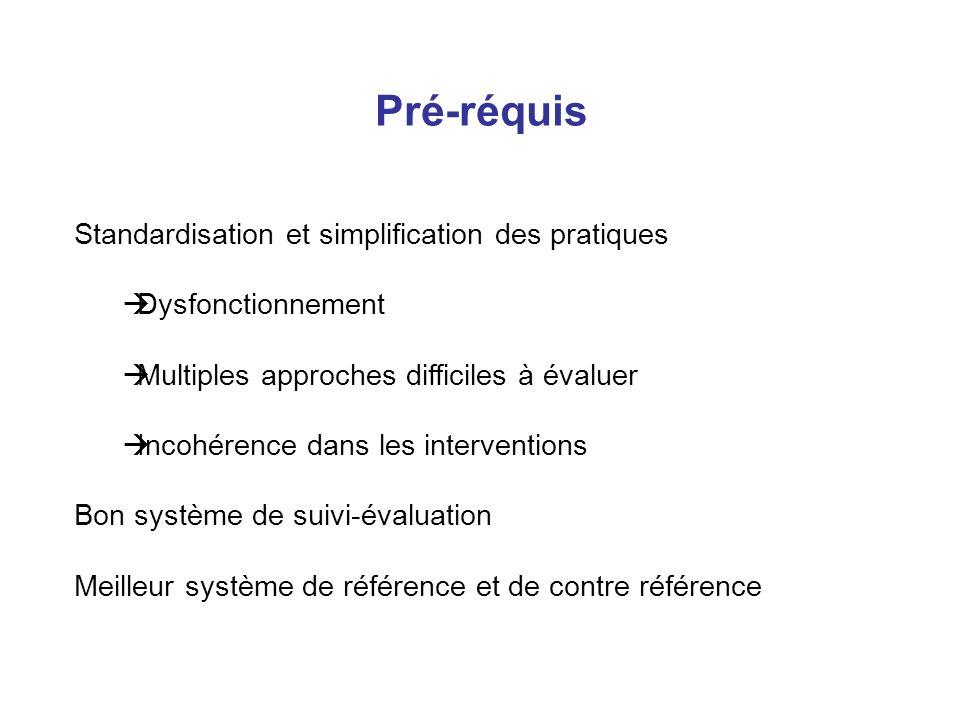 Pré-réquis Standardisation et simplification des pratiques Dysfonctionnement Multiples approches difficiles à évaluer Incohérence dans les interventions Bon système de suivi-évaluation Meilleur système de référence et de contre référence