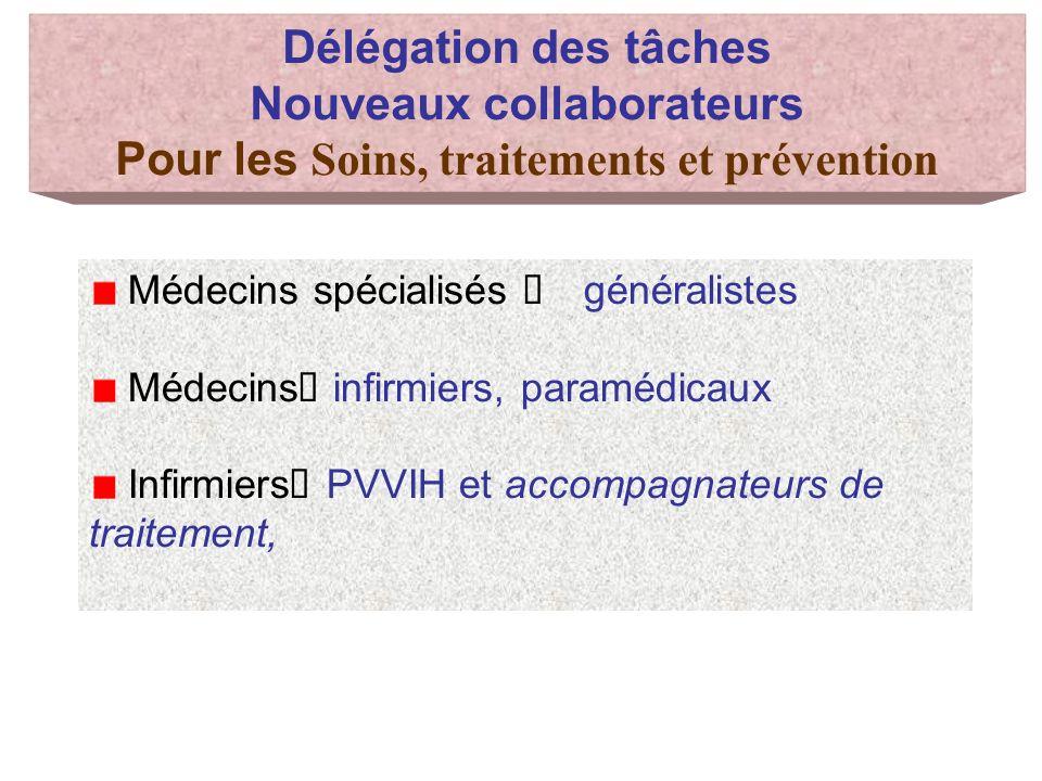 Délégation des tâches Nouveaux collaborateurs Pour les Soins, traitements et prévention Médecins spécialisés généralistes Médecins infirmiers, paramédicaux Infirmiers PVVIH et accompagnateurs de traitement,