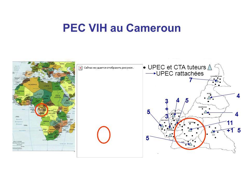 PEC VIH au Cameroun 5 11 +1 4 4 7 5 4 3+33+3 5 5 UPEC et CTA tuteurs UPEC rattachées