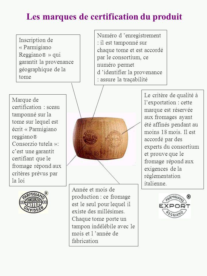 Inscription de « Parmigiano Reggiano ® » qui garantit la provenance géographique de la tome Marque de certification : sceau tamponné sur la tome sur lequel est écrit « Parmigiano reggiano ® Consorzio tutela »: cest une garantit certifiant que le fromage répond aux critères prévus par la loi Année et mois de production : ce fromage est le seul pour lequel il existe des millésimes.
