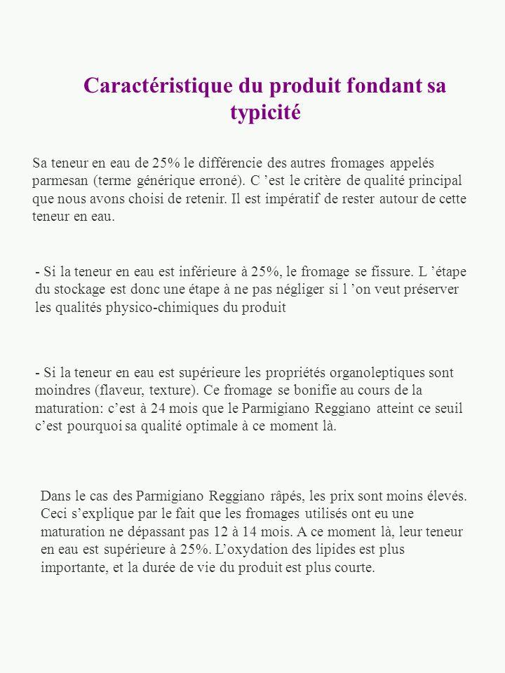 Identification des caractéristiques attendues du produit L évaluation de la qualité d une tome de Parmigiano Reggiano peut être évaluée par les critèr