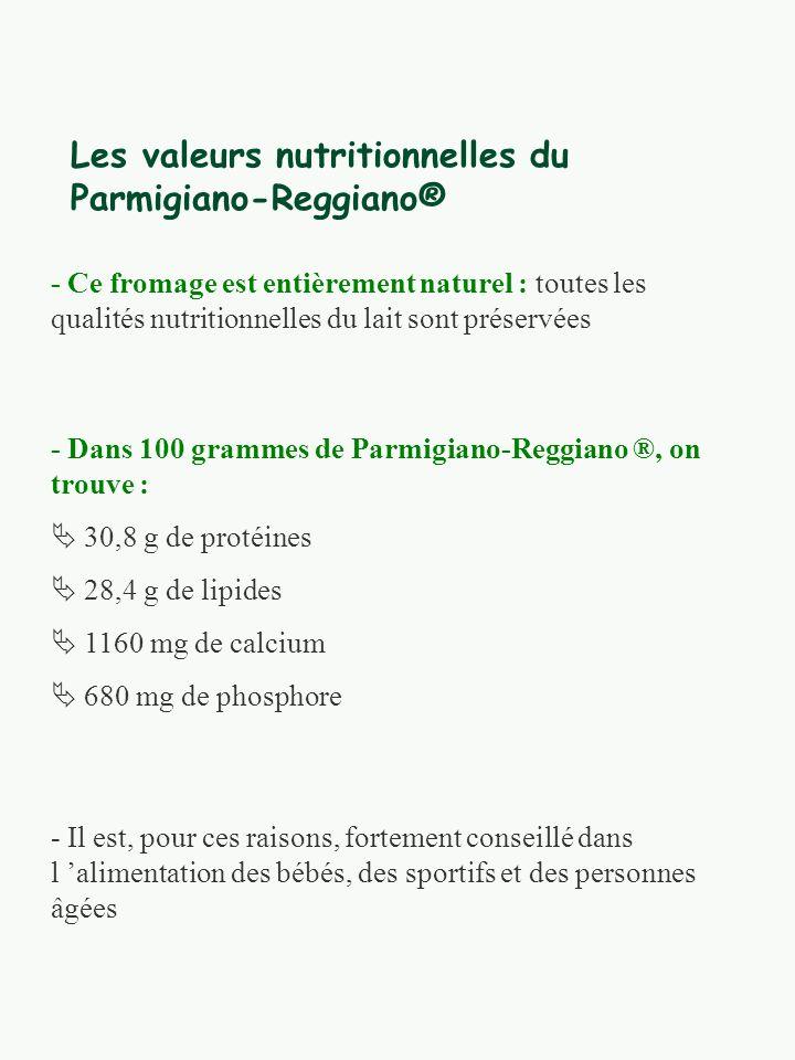 Les valeurs nutritionnelles du Parmigiano-Reggiano® - Ce fromage est entièrement naturel : toutes les qualités nutritionnelles du lait sont préservées - Dans 100 grammes de Parmigiano-Reggiano ®, on trouve : 30,8 g de protéines 28,4 g de lipides 1160 mg de calcium 680 mg de phosphore - Il est, pour ces raisons, fortement conseillé dans l alimentation des bébés, des sportifs et des personnes âgées