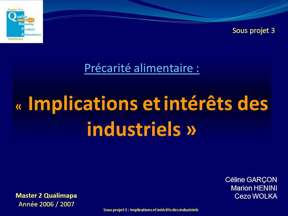 Sous projet 3 : Implications et intérêts des industriels Précarité alimentaire : « Implications et intérêts des industriels » Céline GAR Ç ON Marion H