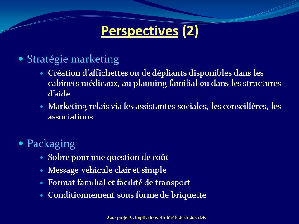 Sous projet 3 : Implications et intérêts des industriels Perspectives (2) Stratégie marketing Création daffichettes ou de dépliants disponibles dans l