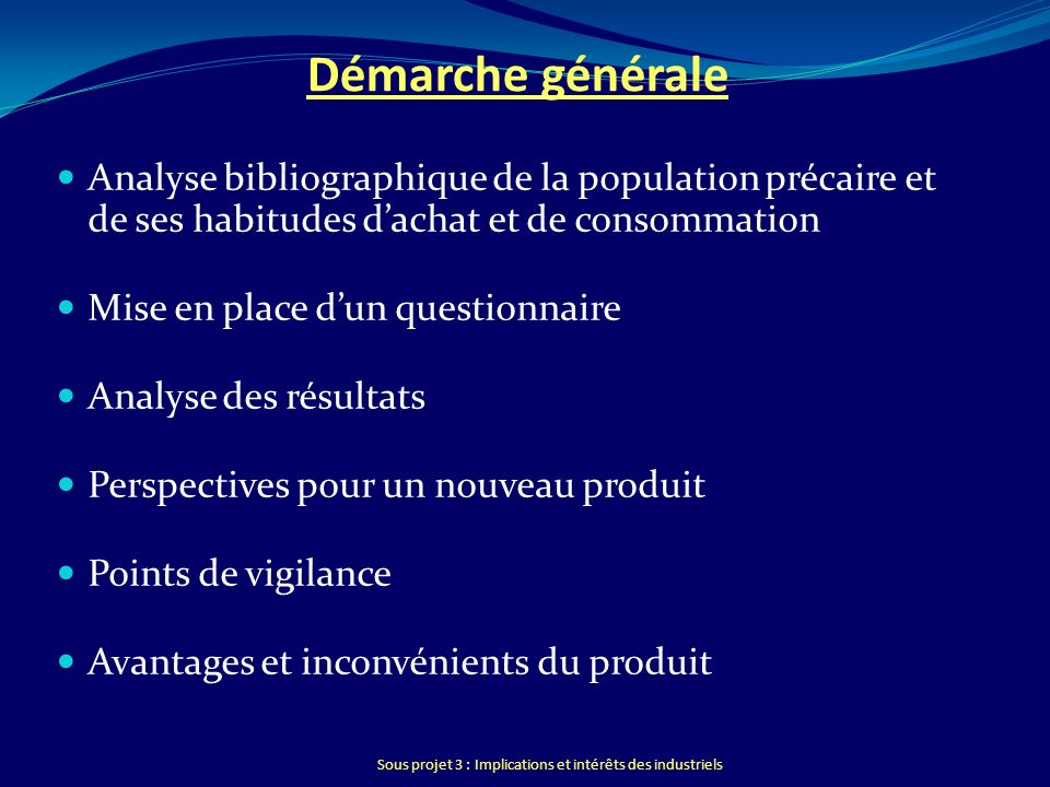 Sous projet 3 : Implications et intérêts des industriels Démarche générale Analyse bibliographique de la population précaire et de ses habitudes dacha