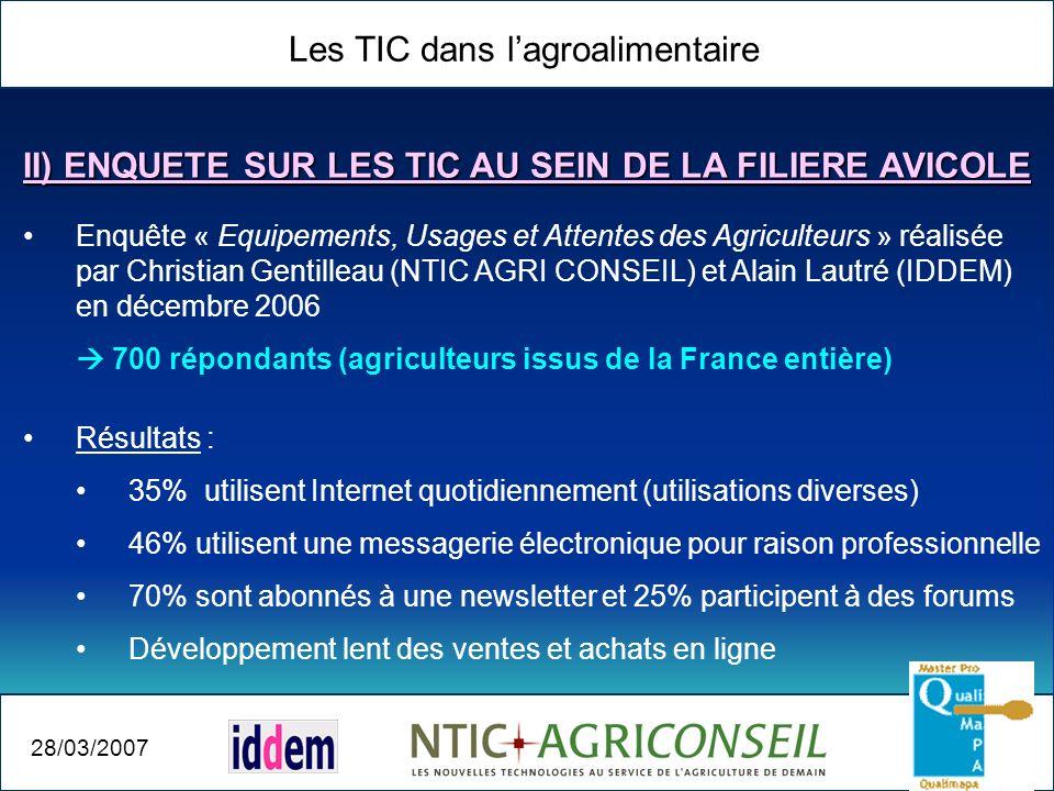 Les TIC dans lagroalimentaire 28/03/2007 Enquête « Equipements, Usages et Attentes des Agriculteurs » réalisée par Christian Gentilleau (NTIC AGRI CON