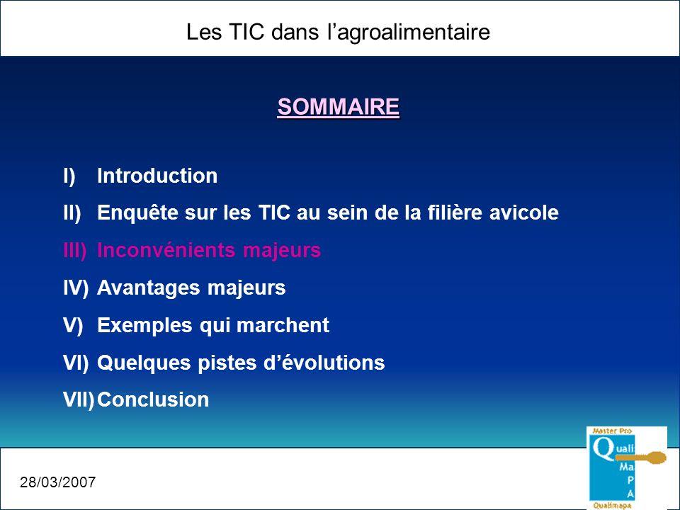 Les TIC dans lagroalimentaire 28/03/2007 I)Introduction II)Enquête sur les TIC au sein de la filière avicole III)Inconvénients majeurs IV)Avantages ma