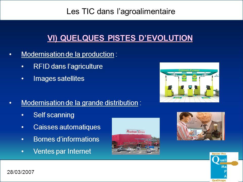 Les TIC dans lagroalimentaire 28/03/2007 VI) QUELQUES PISTES DEVOLUTION Modernisation de la production : RFID dans lagriculture Images satellites Mode