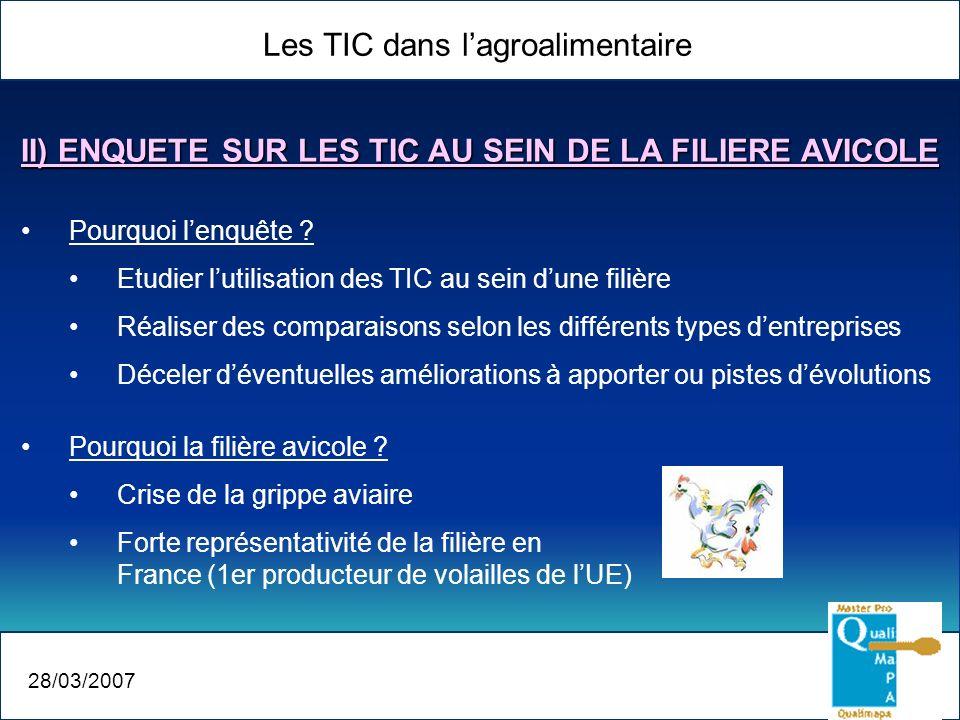 Les TIC dans lagroalimentaire 28/03/2007 Pourquoi lenquête ? Etudier lutilisation des TIC au sein dune filière Réaliser des comparaisons selon les dif