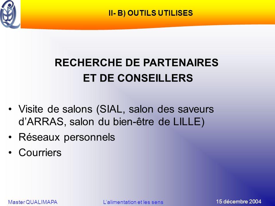 15 décembre 2004 Master QUALIMAPALalimentation et les sens II- B) OUTILS UTILISES RECHERCHE DE PARTENAIRES ET DE CONSEILLERS Visite de salons (SIAL, s