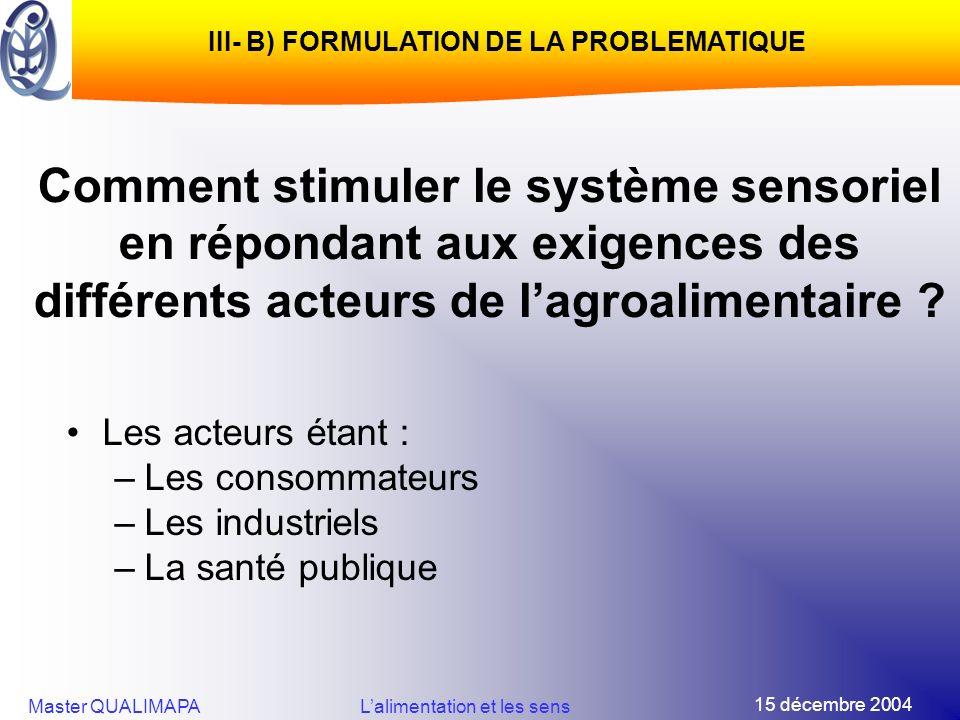 15 décembre 2004 Master QUALIMAPALalimentation et les sens Comment stimuler le système sensoriel en répondant aux exigences des différents acteurs de